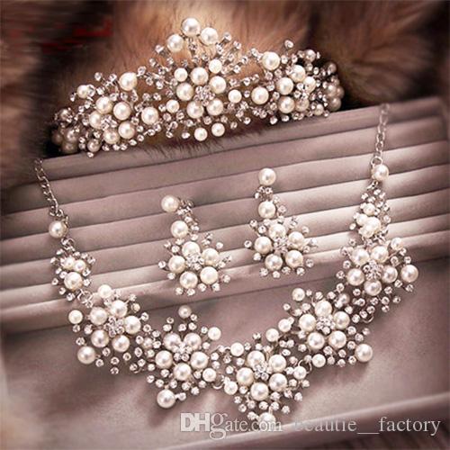 Accessoires de bijoux de mariage nuptiale diadèmes ensemble de cheveux de la couronne collier boucles d'oreilles T1601