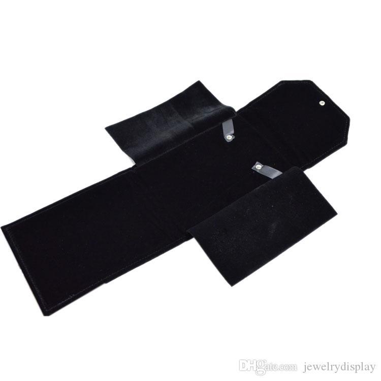 New Design Velvet 18*22cm Foldable Personal Necklace Holder Pear Storage Travel Jewelry Pendant Gift Storage Case Roll Bag Black Nbdxm