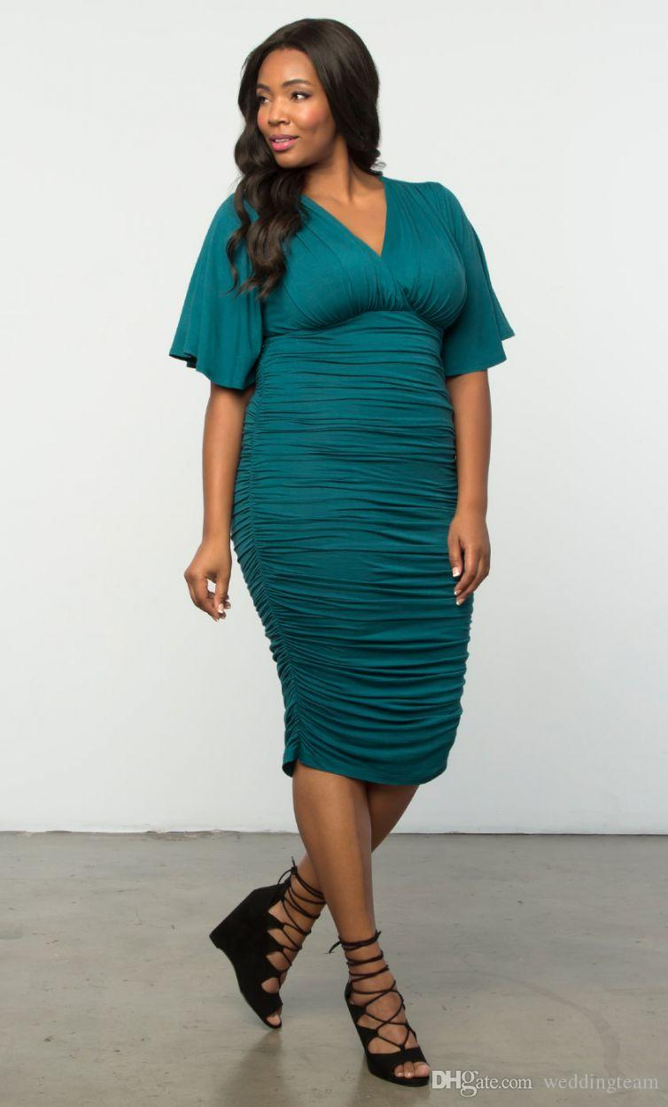 Fashion Plus Size Ruched Evening Dresses With Half Sleeves V Neck Tea  Length Evening Gowns Sheath Empire Waist Short Formal Dress Plus Size Pants  ...