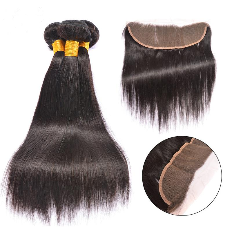 Paquetes de cabello de Malasia con frontales de encaje 7A Cabello de Malasia recto con cierre Tejido de cabello 100% humano y cierres de encaje de oreja a oreja