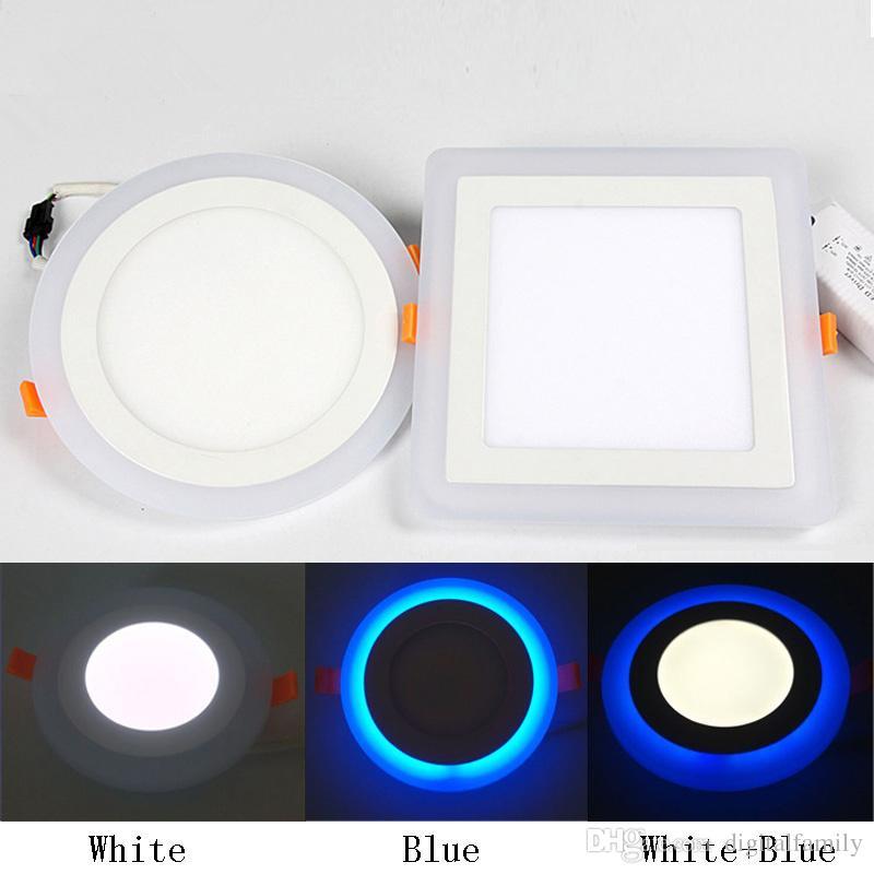 Round/Square Panel LED Downlight 6W 9W 16W 24W White LED Panel Light Double Color LED Luce Empotradas de techo Interior Lighting DHL