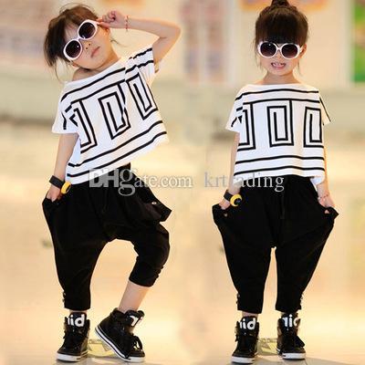 Grande estate delle ragazze vestiti 2pc Set manicotto del blocco slaccia la maglietta Tops + Nero Harem 2pcs vestito fashion clothing bambini bambini performance giornaliera