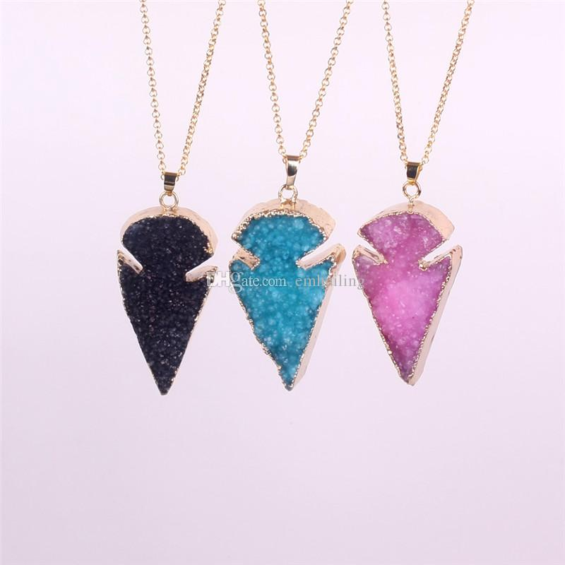 Pretty Nature Crystal Agate Druzy Quartz Geode JasperStone ArrowHead Point Pendant Bead with Gold Electroplated Fashion Drusy Charm Necklace