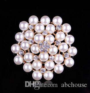 3 Colors Vintage Silver Tone Rhinestone Crystal Diamante and Faux Cream Pearl Cluster Large Bridal Bouquet Pin Brooch