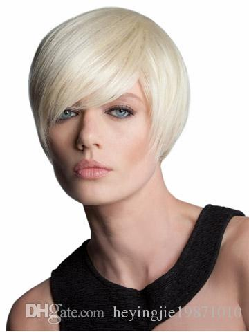 Xiu Zhi Mei Top quality silky straight short Bob Wigs High Grade Synthetic Hair Light Blonde Color Like Pictures Layered Wigs Free Shipping