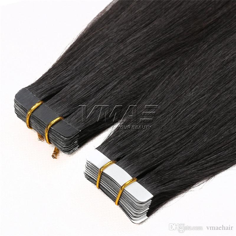 인간의 머리카락 확장에 테이프 2.5g / piece 40pieces / 팩 원래 자연 원시 버진 브라질 피부 Wefts 테이프 머리 자연 색상 VMAE 머리카락