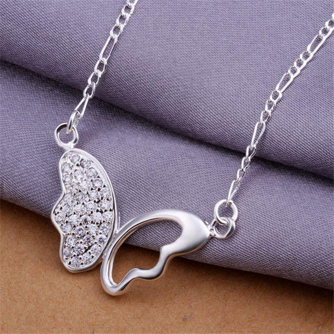 Collier en argent sterling STSN311 de haute qualité de collier pendentif avec des pierres précieuses blanches plaqué, mode vente directe d'usine de collier en argent 925