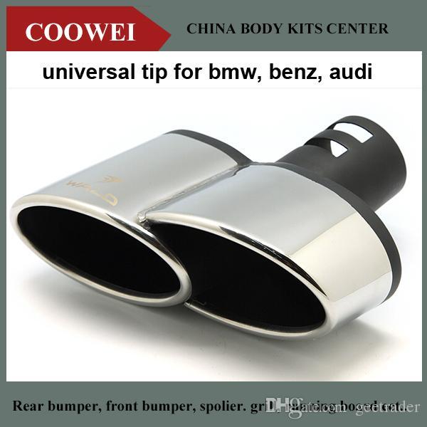 Wald Stil 304 Çelik Quad Egzoz Susturucu İpuçları Evrensel Egzoz İpucu BMW Benz Audi Için