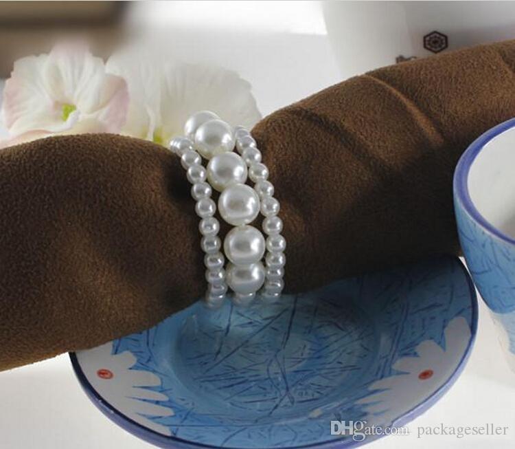 اللون الأبيض لامعة اللؤلؤ منديل خواتم لحضور حفل زفاف الجدول الديكور زينة شحن مجاني