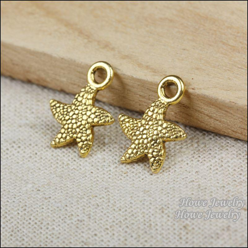 75pcs Vintage Charms starfish Pendant Antique gold plated Fit Bracelets Necklace DIY Metal Jewelry Making R013