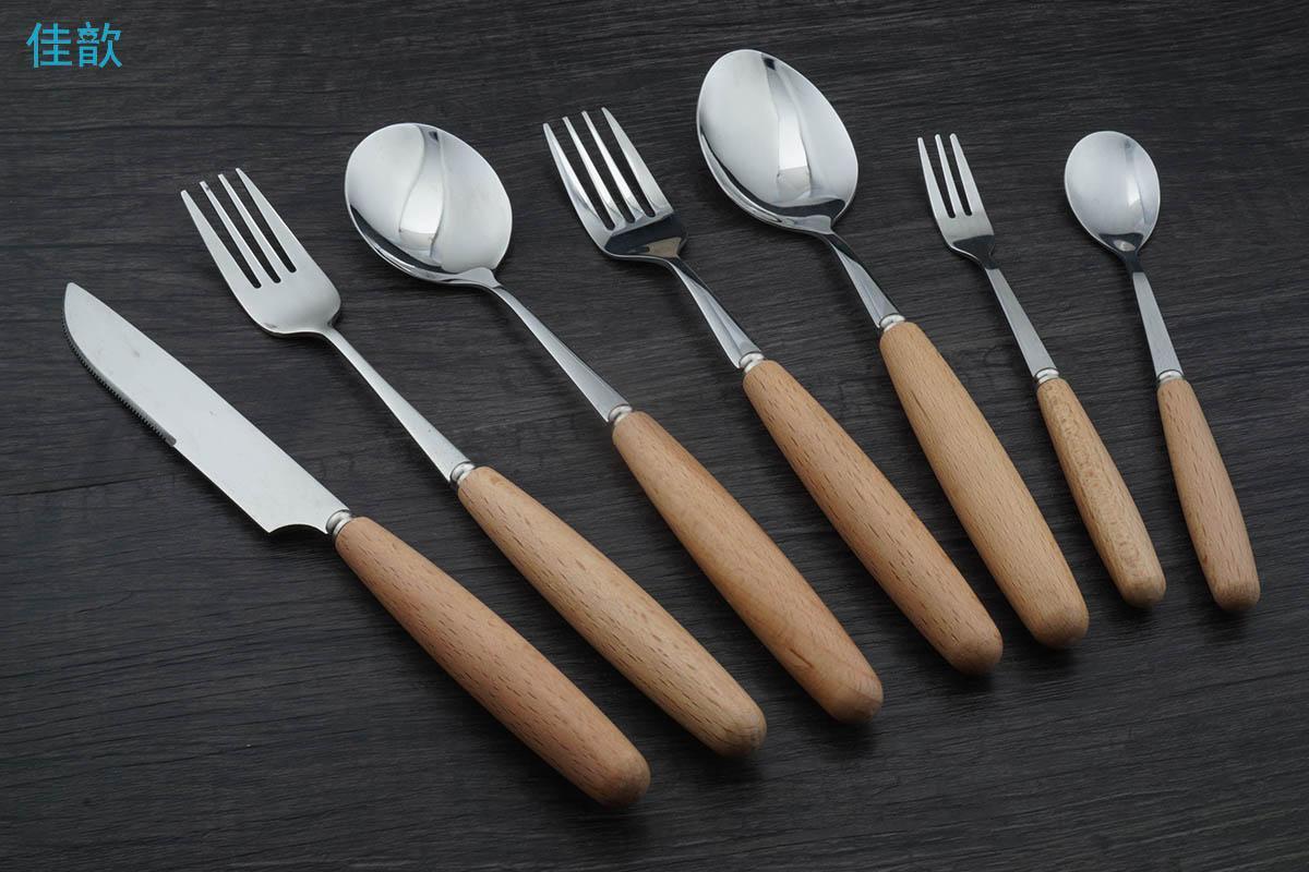 Al por mayor de 1 piezas de madera maciza mango vajilla partido de acero inoxidable cuchara de la cena cuchillo de fruta tenedor cubertería ronda cubiertos mango