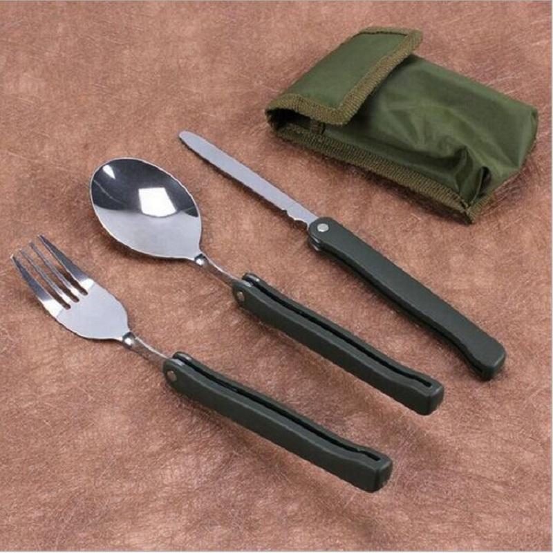 المحمولة قابلة للطي التخييم أداة الفولاذ المقاوم للصدأ في الهواء الطلق أدوات المائدة للطي شوكة ملعقة سكين نزهة أواني التخييم مجموعة