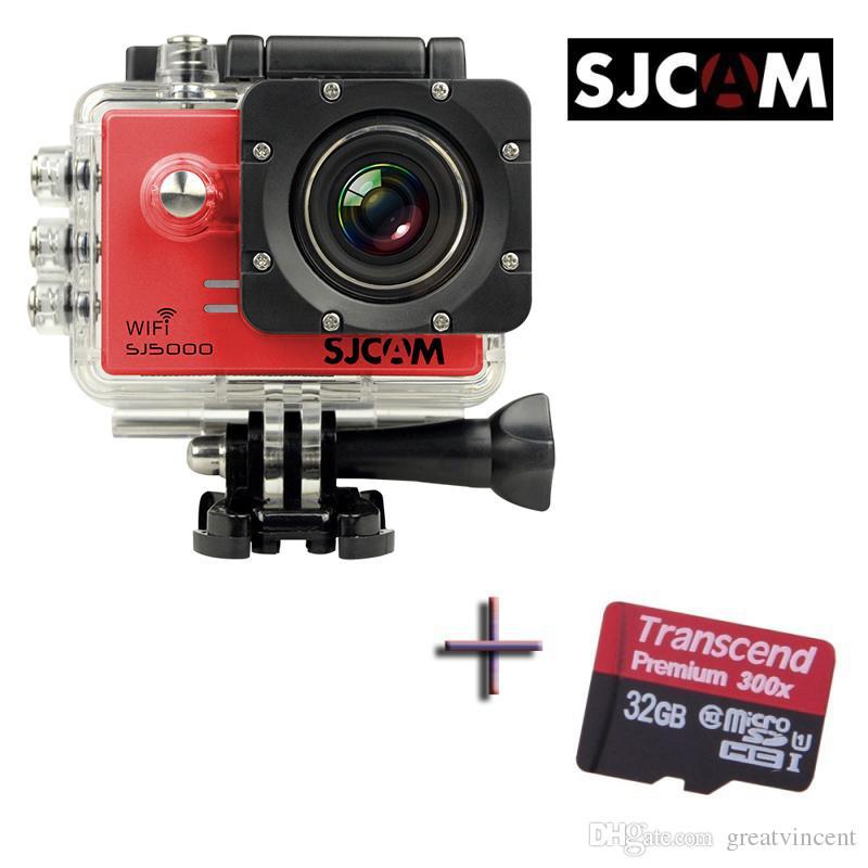 Оригинальный SJCAM SJ5000 WiFi Спорт действий камеры водонепроницаемый автомобильный видеорегистратор + 1 x дополнительные Transcend 32 ГБ карты памяти 20 шт. / лот Бесплатная доставка