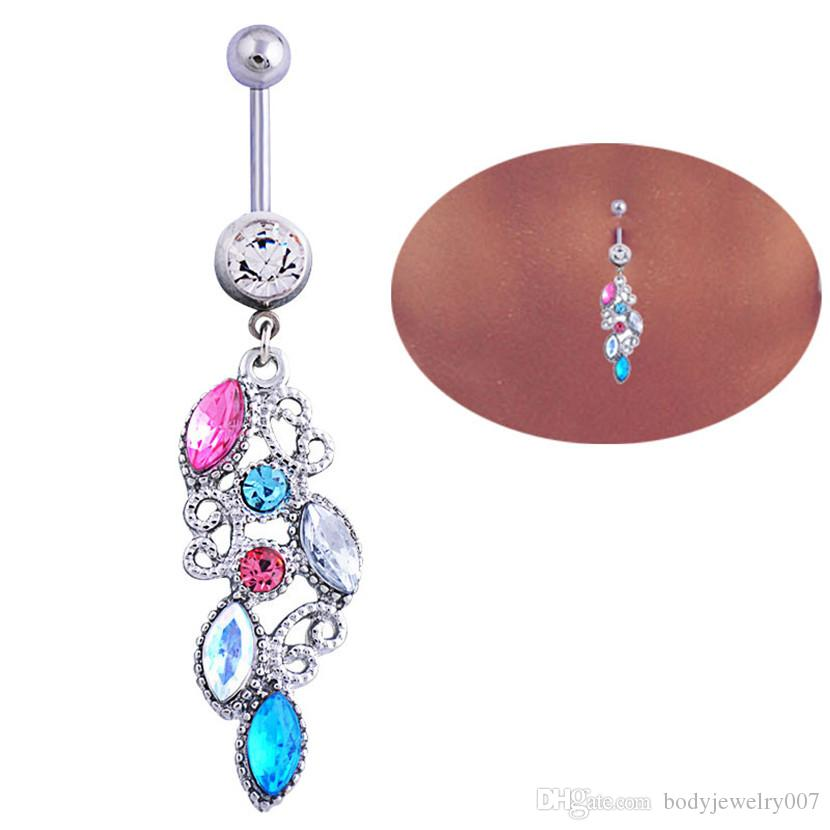 D0488 ( 1 color ) body piercing jewelry Clear Wings Belly Button Navel Rings Body Piercing Jewelry Dangle Fashion Charm CZ Stone 10Pcs/Lot