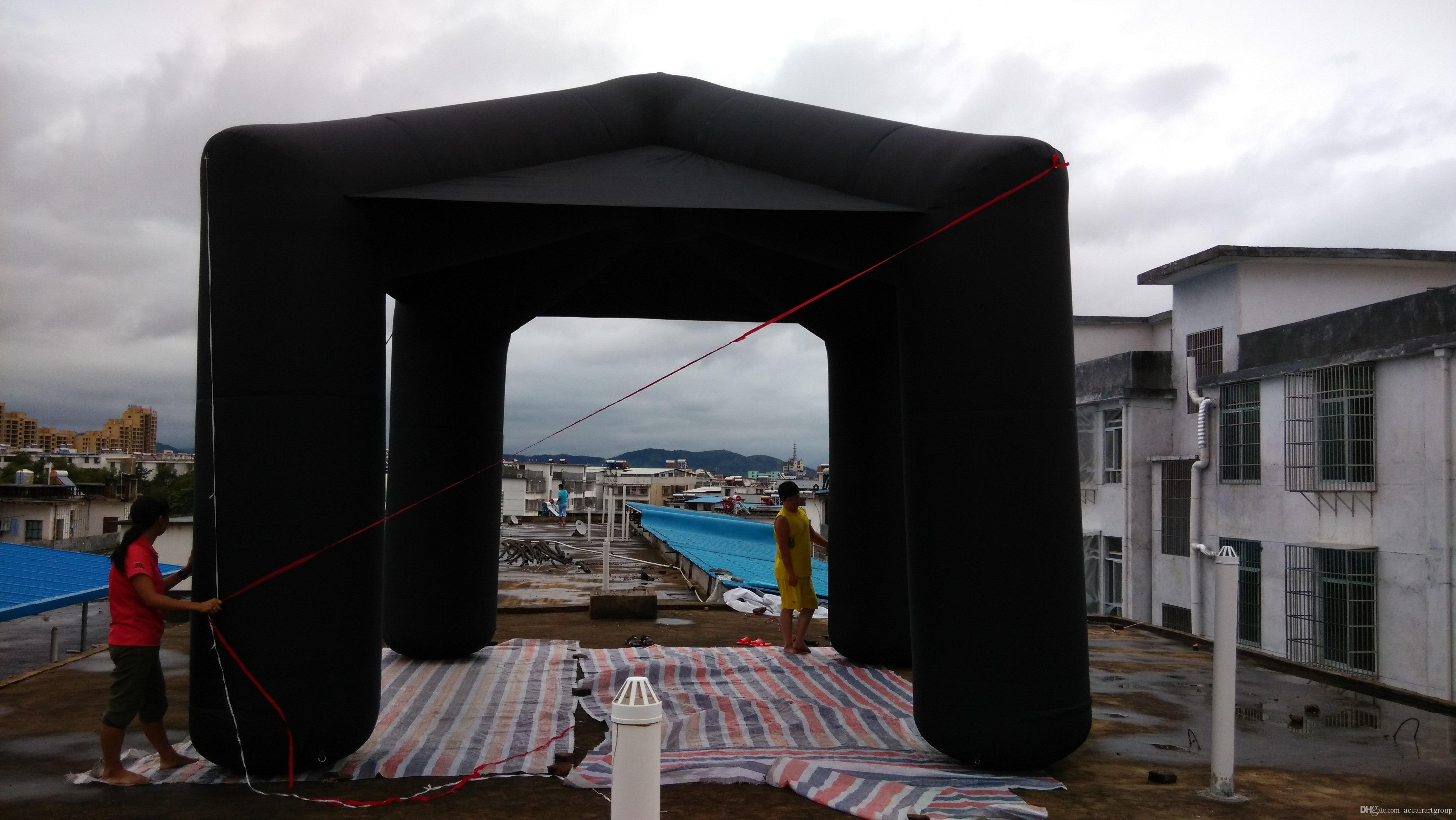 wholesale black outdoor canopy single spire inflatable square tent for promotion can free to print logo