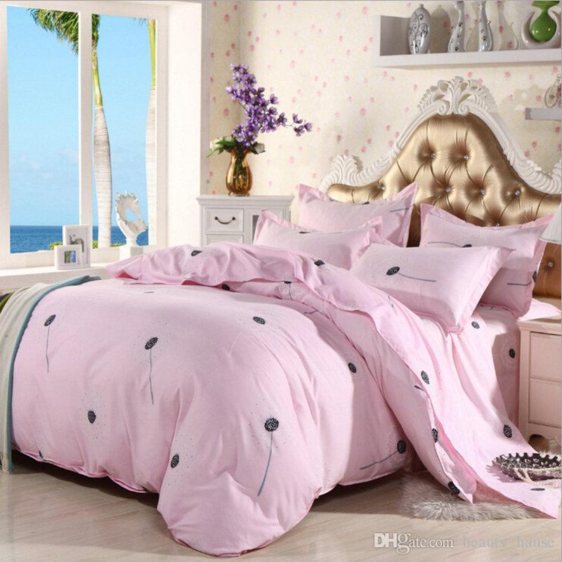 Lenzuolo rosa stampa biancheria da letto set moda lenzuolo / copripiumino / federa, 3-4 pz copertura consolatore set regalo di tessili per la casa