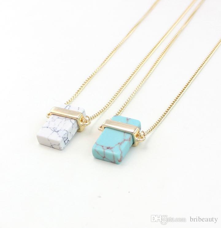 الأبيض الفيروز مستطيل شبه حجر قلادة الفيروز قلادة روز كوارتز مستطيلة قلادة الأزرق الأوردة حجر قلادة 4 قطع الكثير