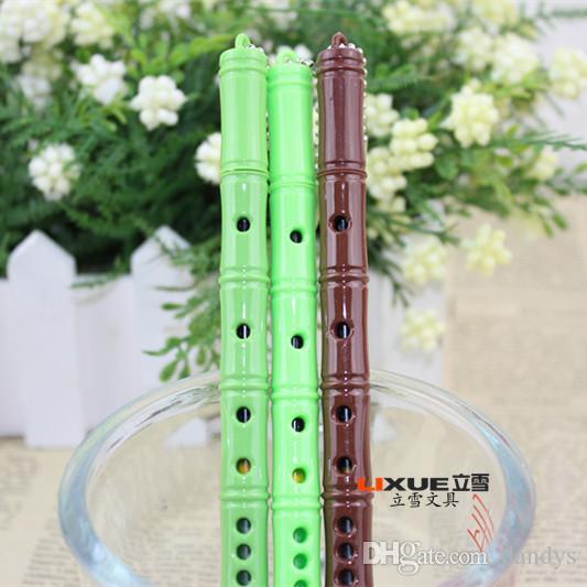 Befordran ! Ny ankomst nyhet söt liten färsk bambu gel penna, kärlek flöjt form penna, skolmaterial student priser tecken penna, 36st / lot