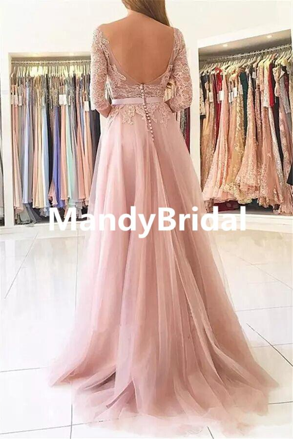 2018 Elegant Blush Pink Lace Evening Dresses With Half Sleeves ...