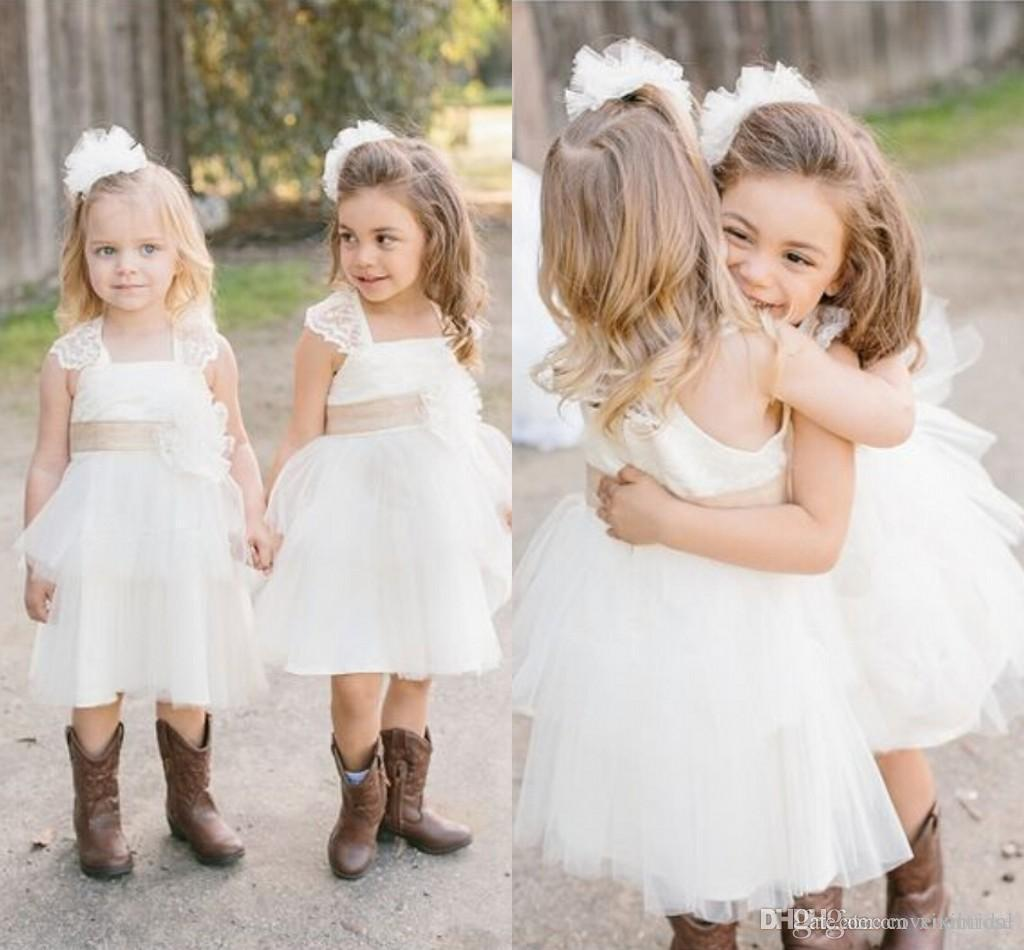 2016 White Wedding Flower Girls Dresses Lace tiered Ribbons Tea Length Country graduation dresses for kids Cheap