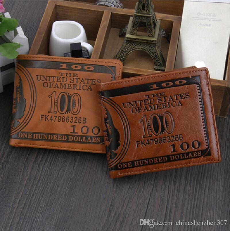 Экспорт мужской моды кошелек доллар кошелек микс кожа дизайнер творчество держатели карт кошельки темного и светло-коричневого цвета бесплатная доставка