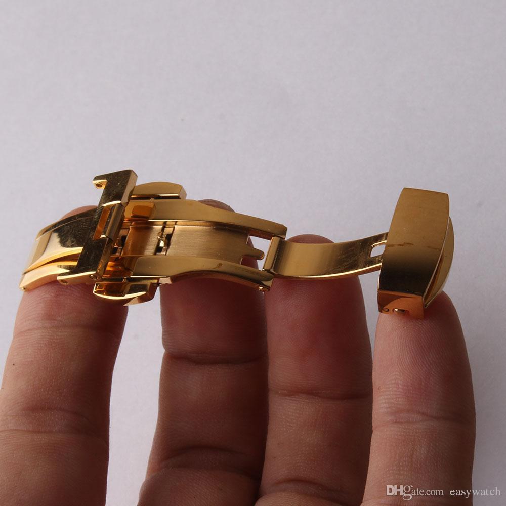 12mm 14mm 16mm 18mm 20mm 22mm fibbie a farfalla fibbia deploys in acciaio inox per cinturino in pelle accessori metallici di alta qualità oro