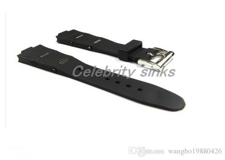 24mm x 8mm (İzle pabucu) YENİ MEN Yüksek Kalite Siyah Dalış Silikon Kauçuk Watchband BANTLARI sapanlar