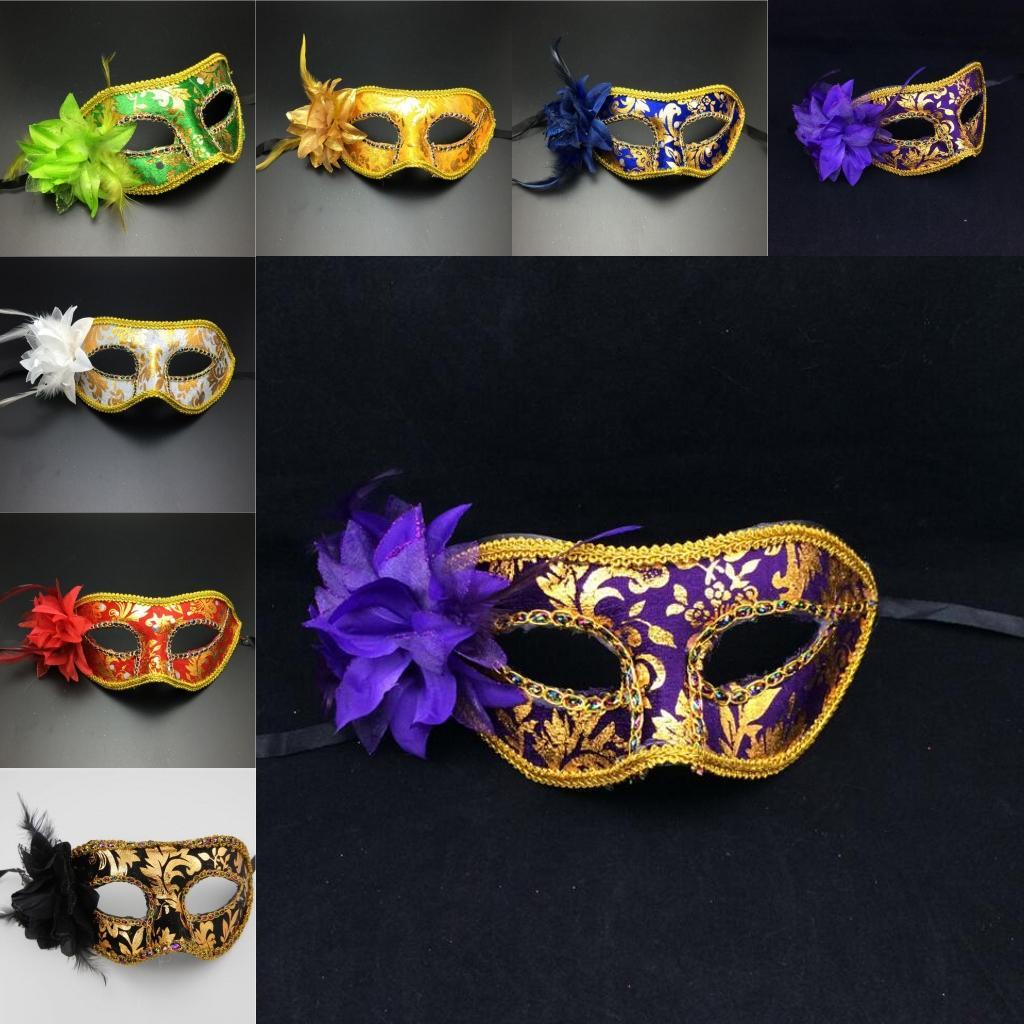 Kadınlar Yeni Cadılar Bayramı Masquerade Maskeleri Yan Çiçek Parti Karnaval Yüz Maskeleri Birtyday Mezuniyet Partisi Gösterisi Yarım Yüz Maskeleri