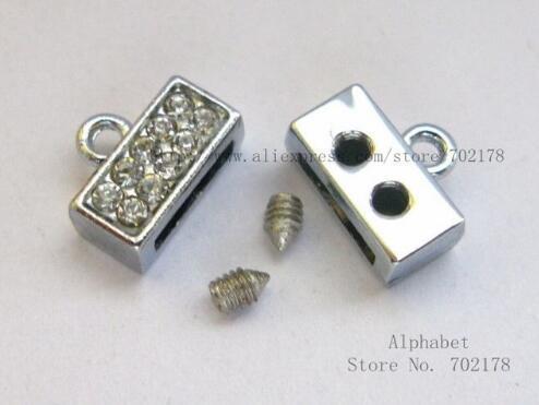 50 stks zilveren kleur effen kristal zinklegering einde sluiting connector 8mm schuif charmes DIY-accessoires fit 8mm huisdier collar polsband sleutelhanger
