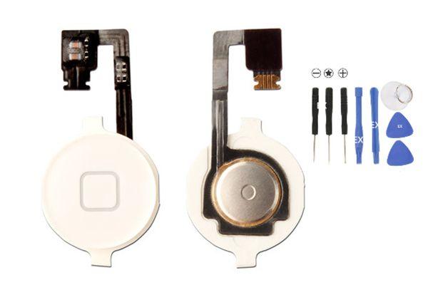Inicio Menú Botón Llave de casquillo Conjunto de soporte de soporte de cable flexible Soporte para iPhone 4 4G 4S CDMA negro blanco pieza de repuesto 100PCS / lote