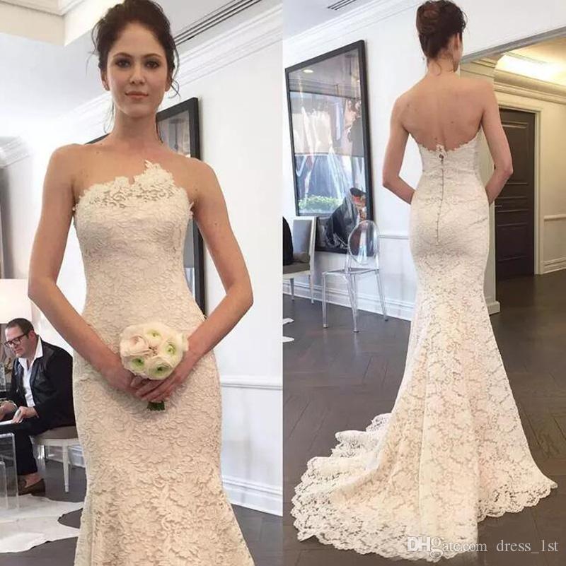 Wunderschöne 2017 Full Lace Mermaid Brautkleider Sexy Zurück Reißverschluss Bezogene Knöpfe Lange Brautkleider Nach Maß China EN10106