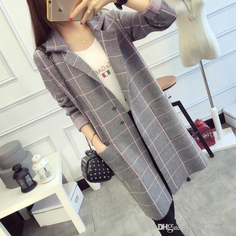Art- und WeiseEuroart-Frauen-lange Hülsen-gekerbte Taschen-Blazer-beiläufige Frauen-lange Art Blazer-Dame Plaidart strickte langen Mantel