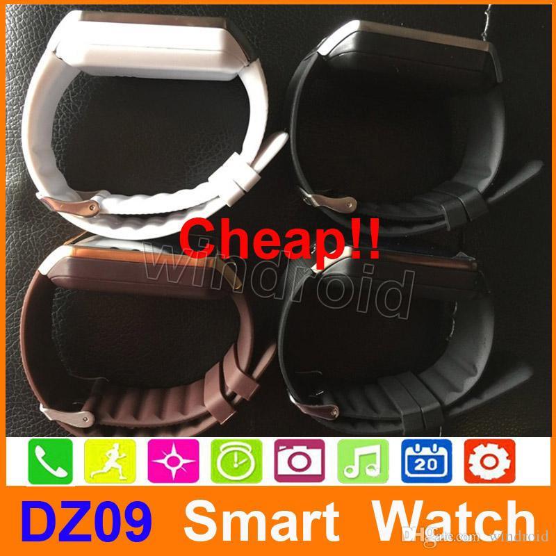"""SmartWatch 2015 Último DZ09 Bluetooth Smart Watch para el teléfono celular inteligente de Android 1.56 """"Construir tarjeta SIM en el navegador al por mayor 30pcs"""