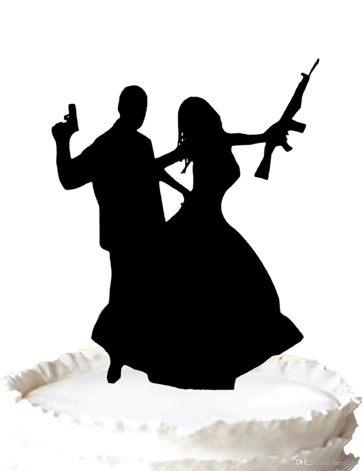 2020 Wedding Acrylic Cake Topper Groom With Gun And Bride Rifle Silhouette For Option From Meijiafei 17 64 Dhgate Com