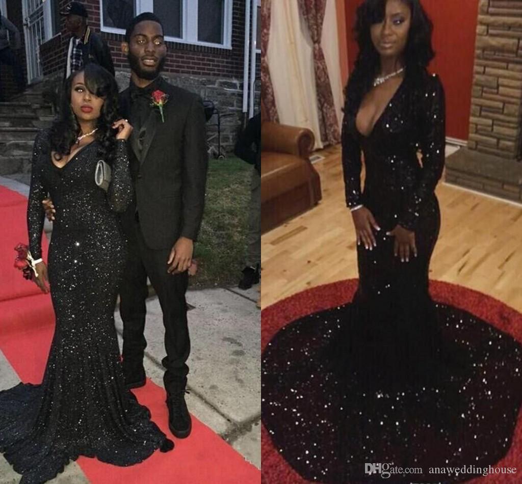 Scintillanti paillettes nero abiti da ballo 2016 manica lunga scollo a V cusotm vestito nero ragazza vestito formale abito da sera festa spettacolo Gonws