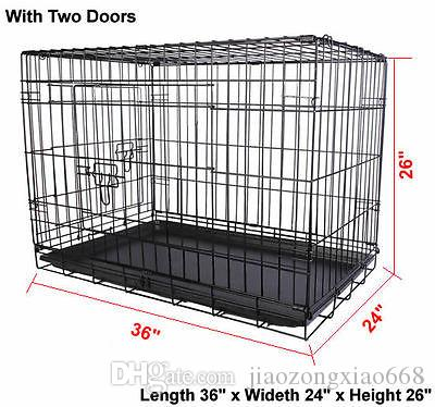 Wire 2 W/ Cage Crate Pet Folding Playpen Cat 36'' Doors Kennel Dog Suitcase Tray Eqgnq