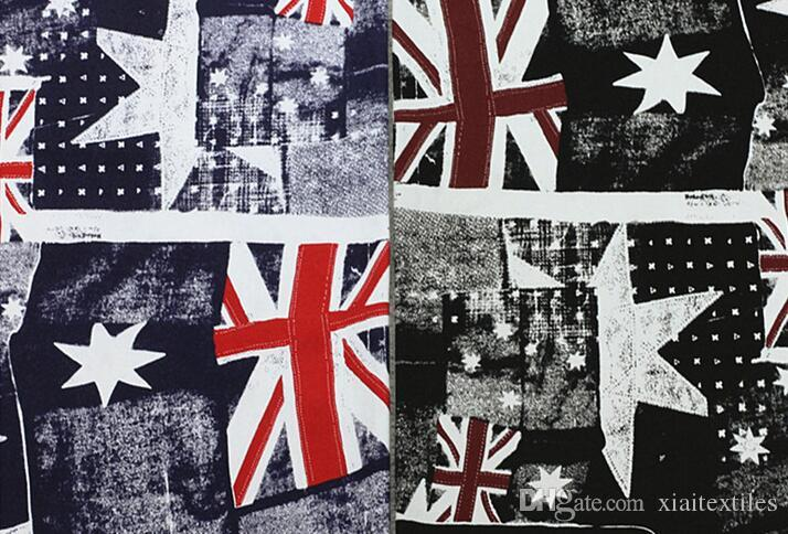 freeshipping! Wholesale 2colour British flag printing star pattern denim fabric, print satin fabric,tweed fabrics floral cotton fabric B199