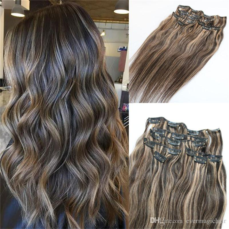 120g Piano Color Human Hair Extensions Clip