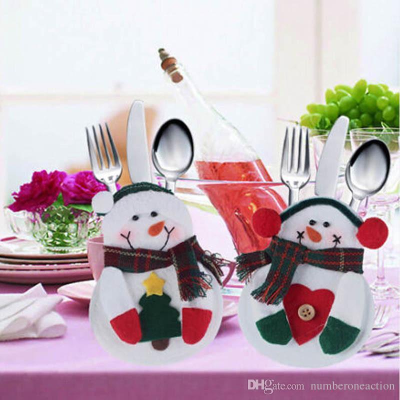 Di alta qualità Carino Pupazzo di neve da tavola titolare posate di argenteria Tasche per Natale Natale Cena Cucina Decor