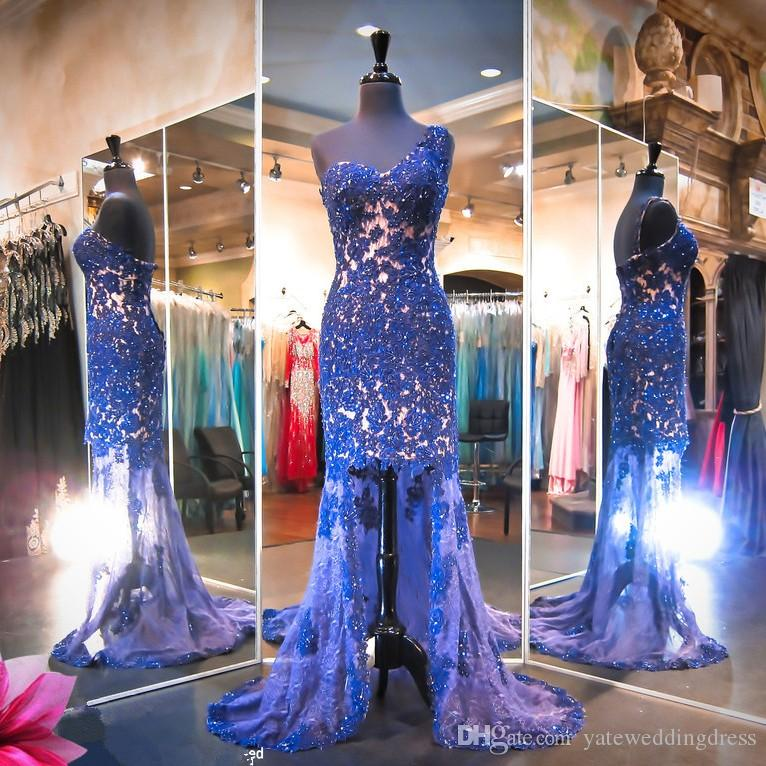 Luxury One-Shoulder Evening Dresses With Lace Applique Sequins Prom Gowns High Low Mermaid Back Zipper Sweep Train Custom Made Formal Dress
