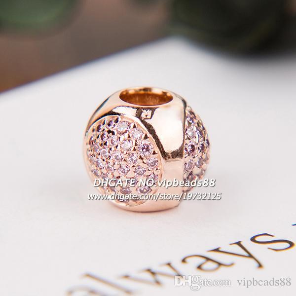 Nuovo 2017 autunno oro rosa gocce d'acqua rosa cz perle di fascino per pandora braccialetti di fascino perline monili che fanno
