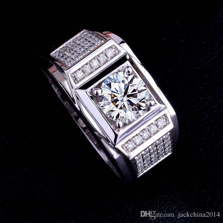 Taglia 8-13 all'ingrosso Brand New Fashion Men gioielli 10kt oro bianco riempito topazio diamante simulato pietra preziosa anelli di nozze per coppia regalo