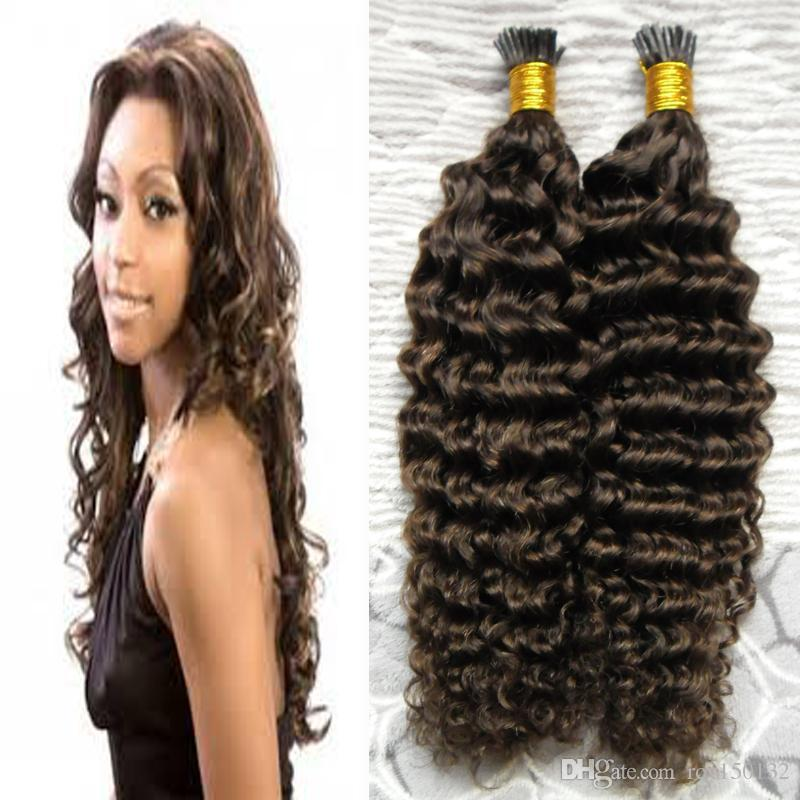 I Tip Hair Extensions brazilian kinky curly 100g 100s #4 Dark Brown Pre Bonded Hair No Remy Human Hair Extensions