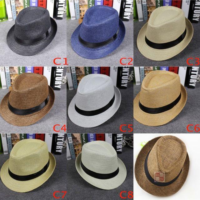 Vogue Damen und Männer Stroh Panama Hüte und Kinder Größe Sommer Mode Fedora Stingy Rand Hüte Eltern Sun Caps 8 Farben