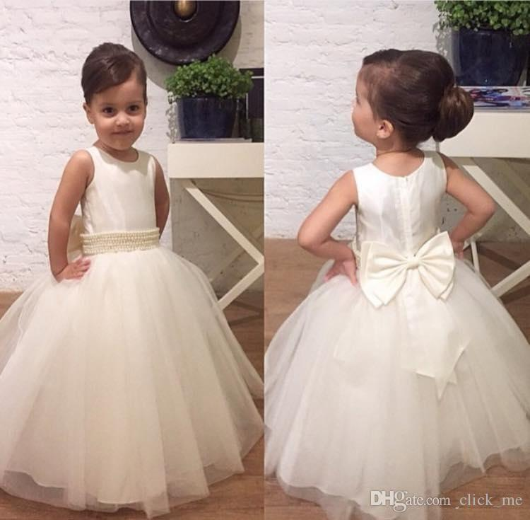 affordable price superior materials separation shoes Ivory Flower Girls Dresses Children Jewel Pearls Bow A Line First Communion  Dress Tulle Floor Length Kids Formal Wear Birthday Gowns Flowers Girls ...