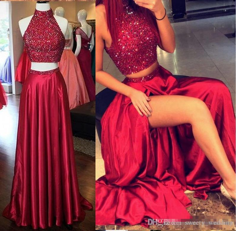 Dark Red Long Homecoming Dresses 2020 Two Pieces Sparkly Beaded Crop Top Front Split Formal Evening Occasion Cocktail Party Prom Gowns Cheap