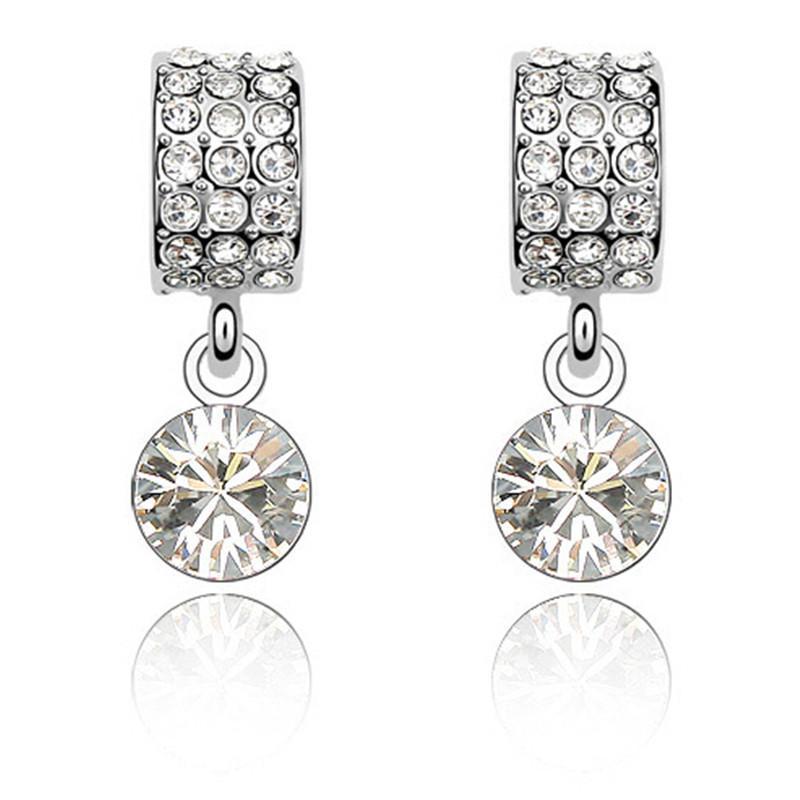 Classic Luxury Bride Earrings For Women Fashion Jewelry Hecho con Swarovski Elements Crystal Drop Earring 2249