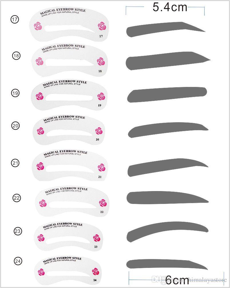 Dzt1968 24 Styles Eyebrow Shaping Stencils Grooming Kit Makeup Shaper Set Template Tool