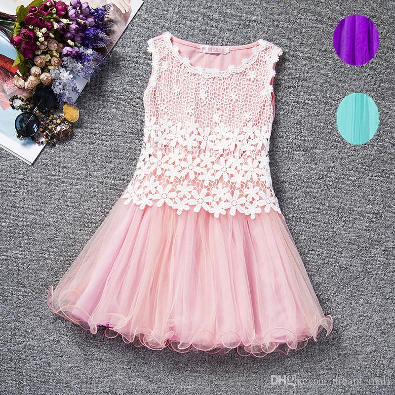 Baby Flower Lace Dress High Quality Sleeveless Princess Girl Dress Kids Children Clothes Tutu Photo Prop
