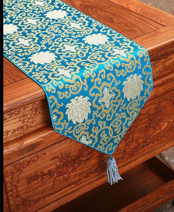 エクストラロング120インチジャカード中華絹テーブルランナーヴィンテージウェディングパーティーダマスクテーブルクロスランナーダイニングテーブルマット300 x 33cm